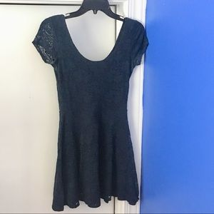Navy Lace Short Sleeve Dress